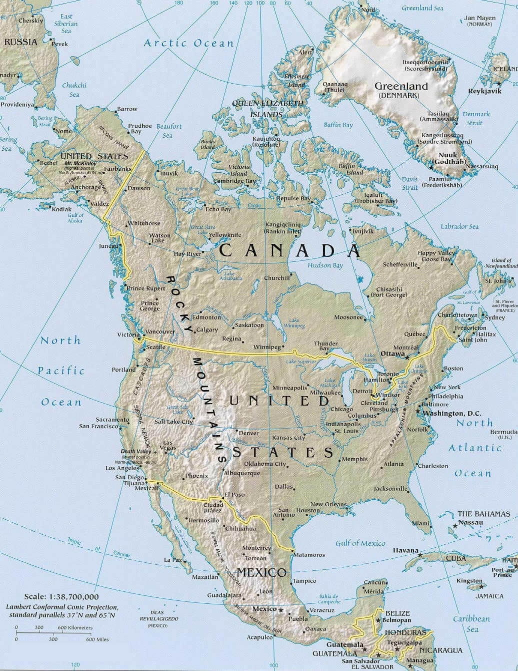 North America Continent Physical Map