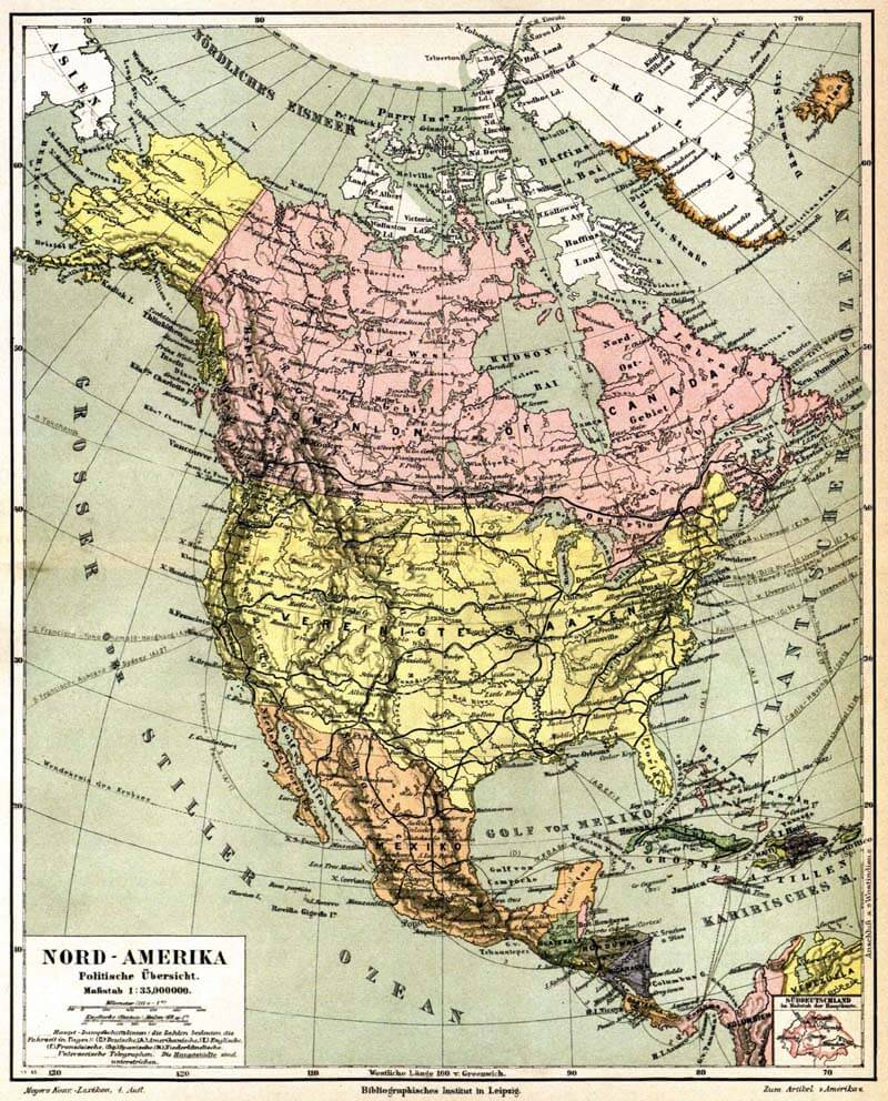 North America Map in 1888