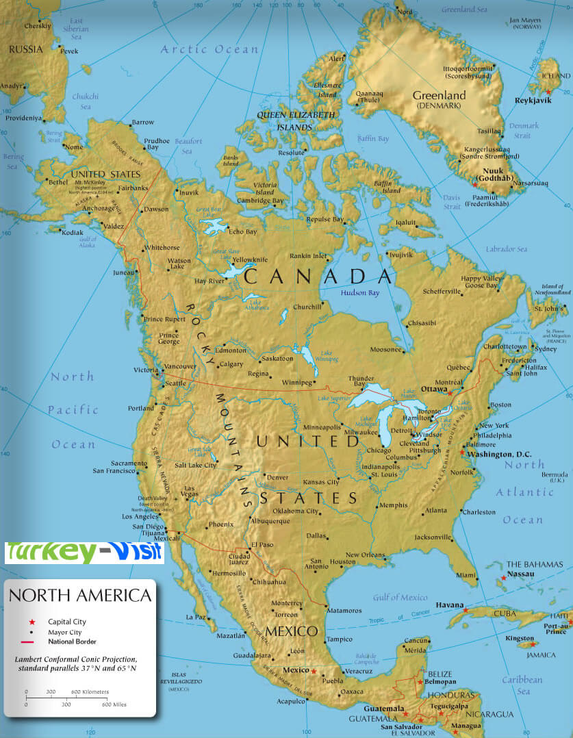 north america earth map guide of the world