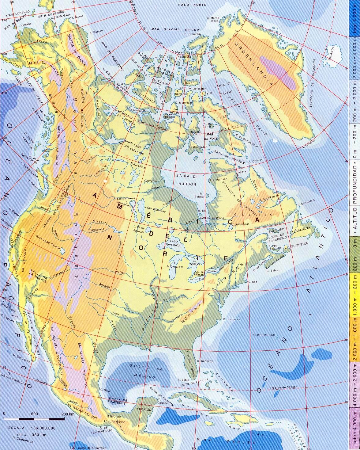 North America Physical Map Blank