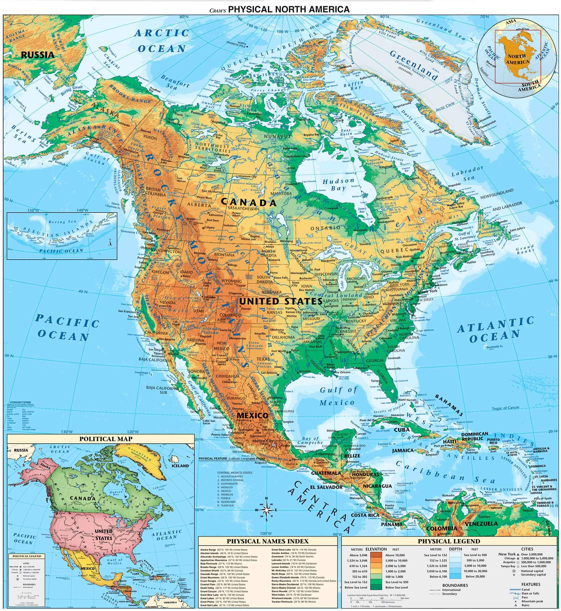 North America Physical Map Countries