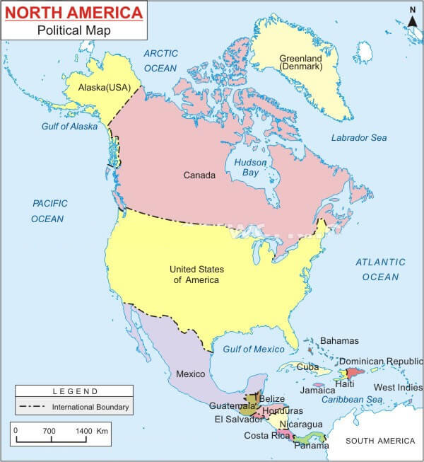 North America Blank Political Map