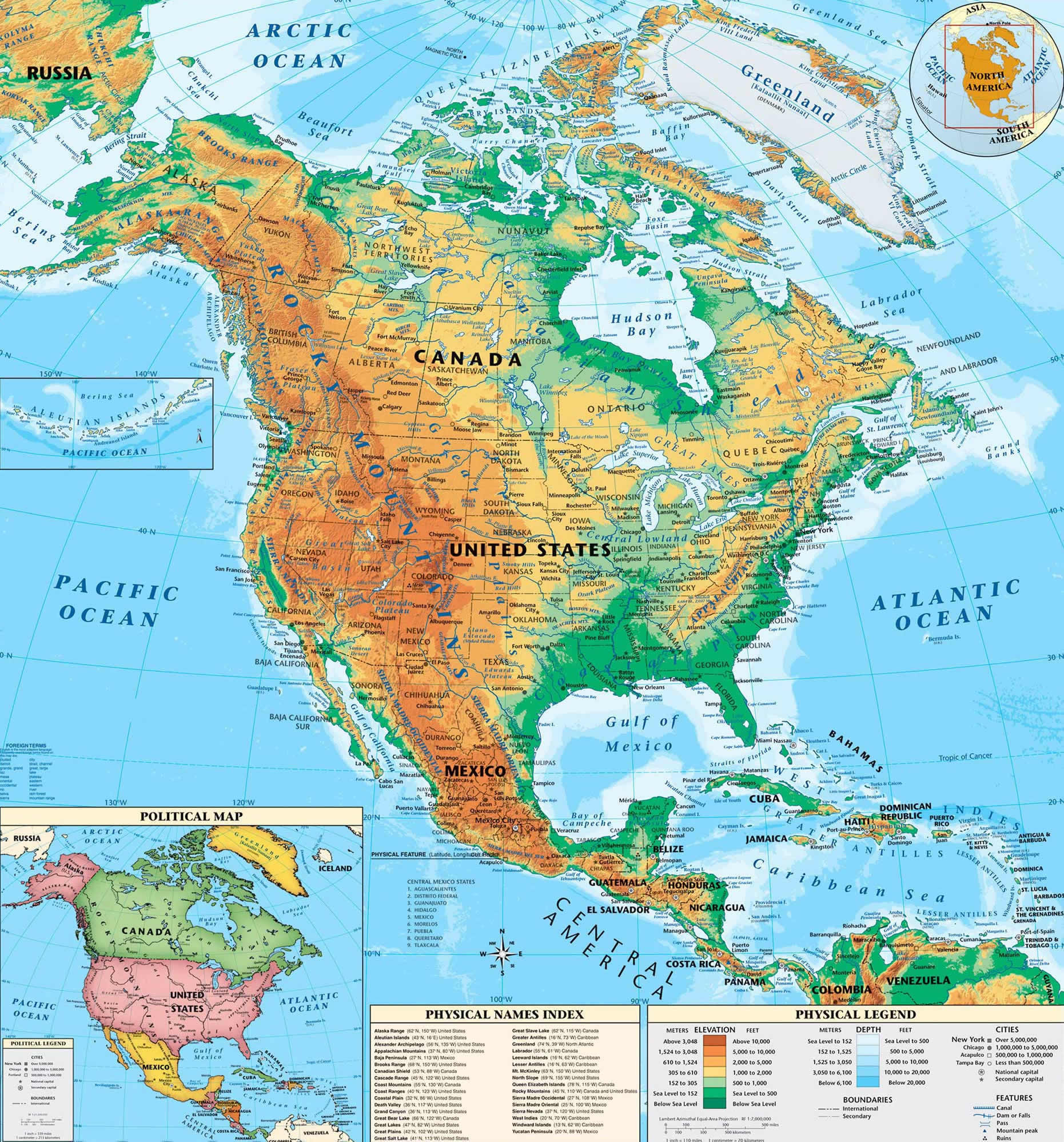 North America Continent Map Physical
