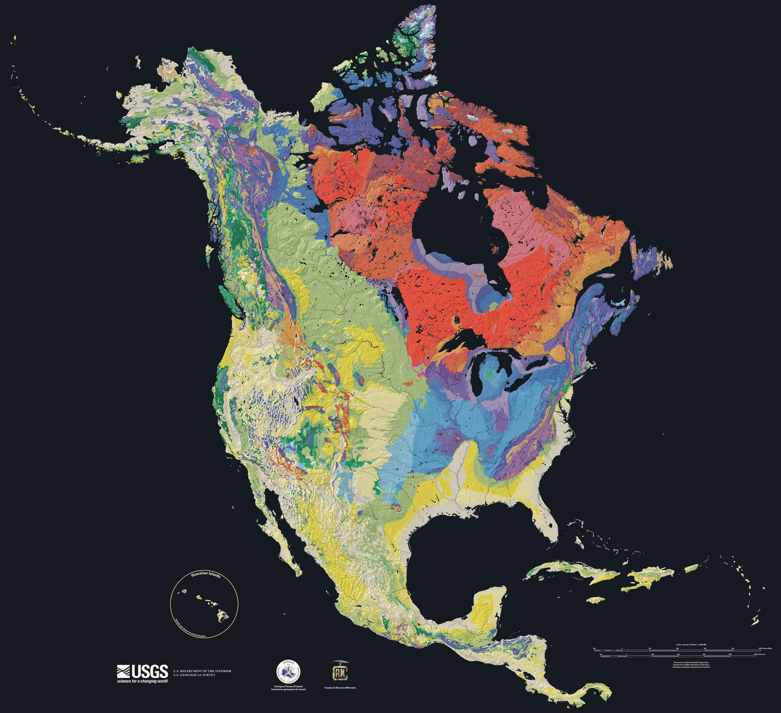 Structural Geology of North America Map 2003