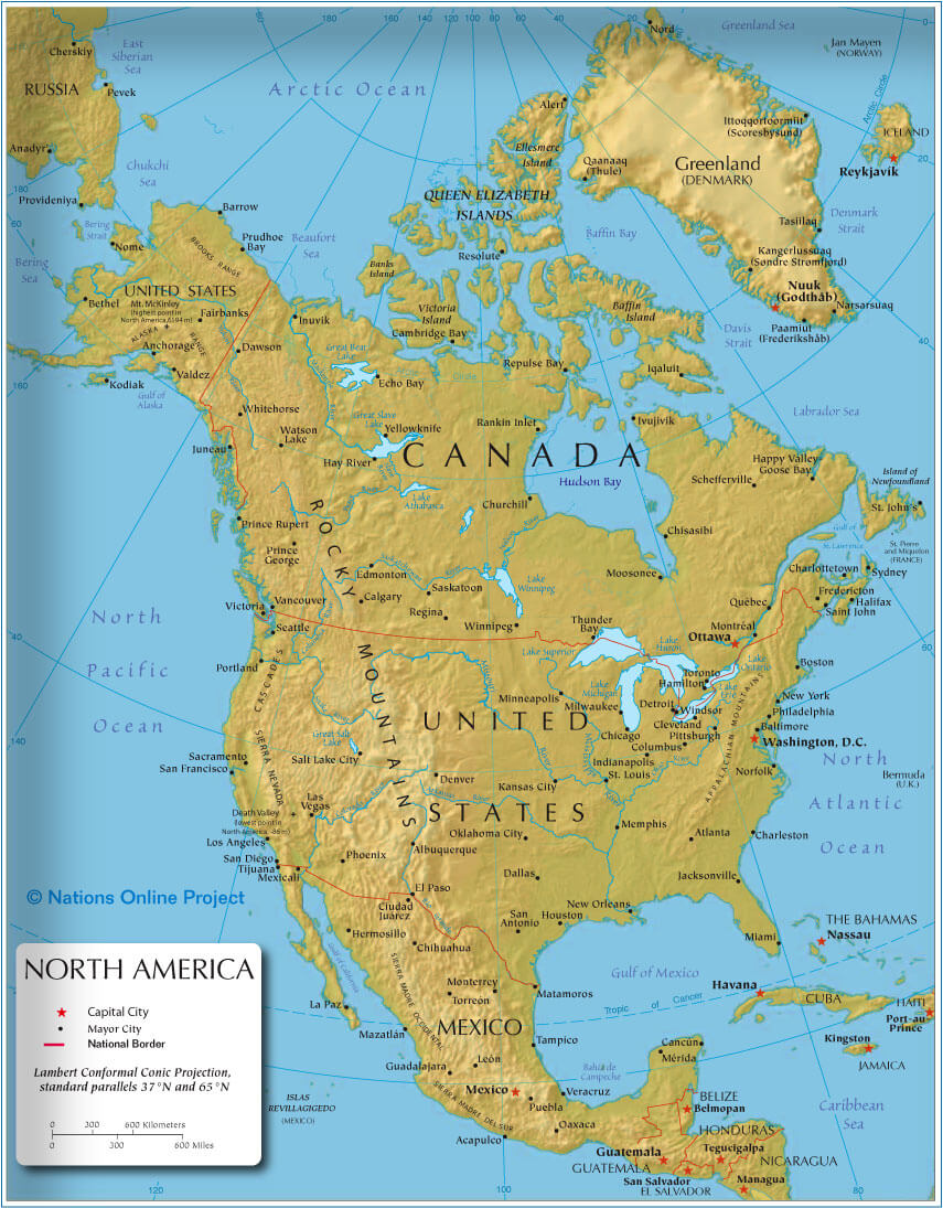 Political map of north america guide of the world north america map world gumiabroncs Image collections