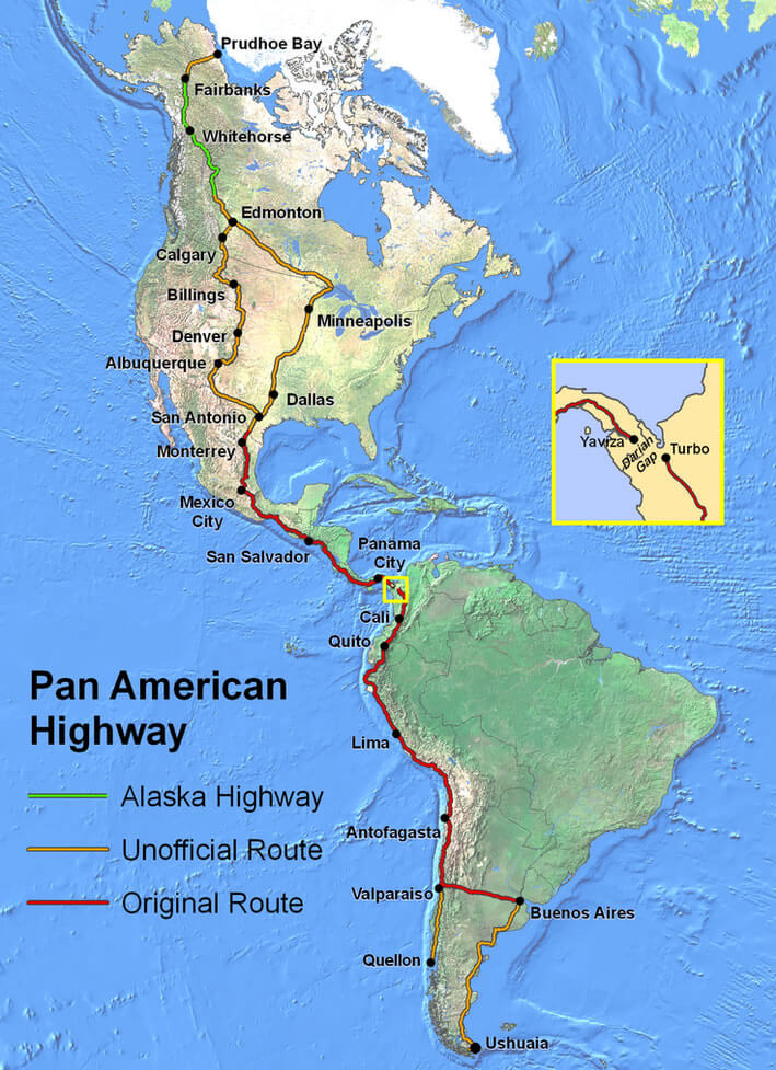 Pan ameircan highway map north south america