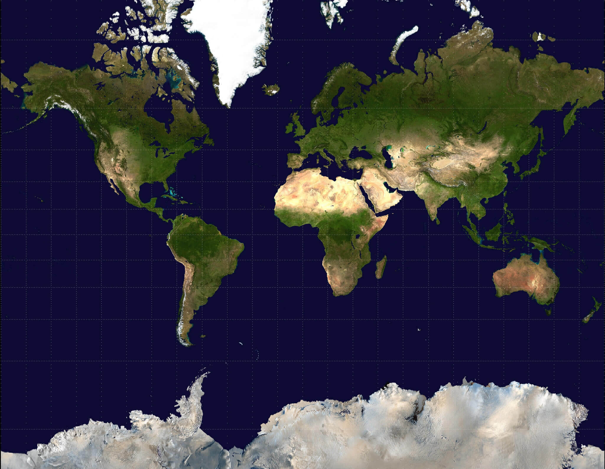 Blank World Satellite Map
