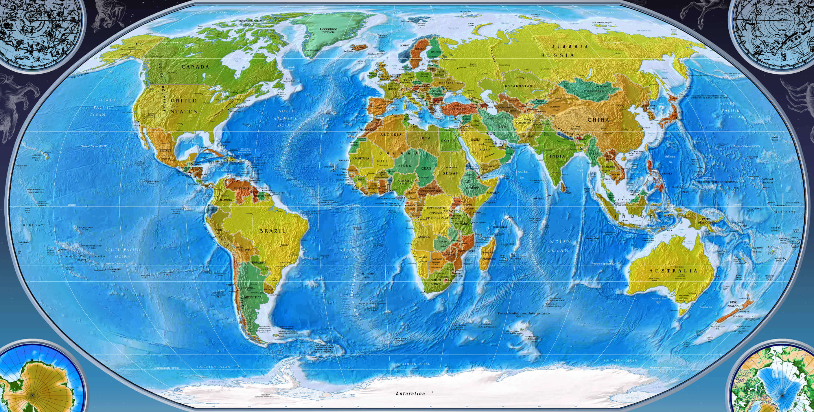 A Physical Map Of The World.World Physical Maps Guide Of The World