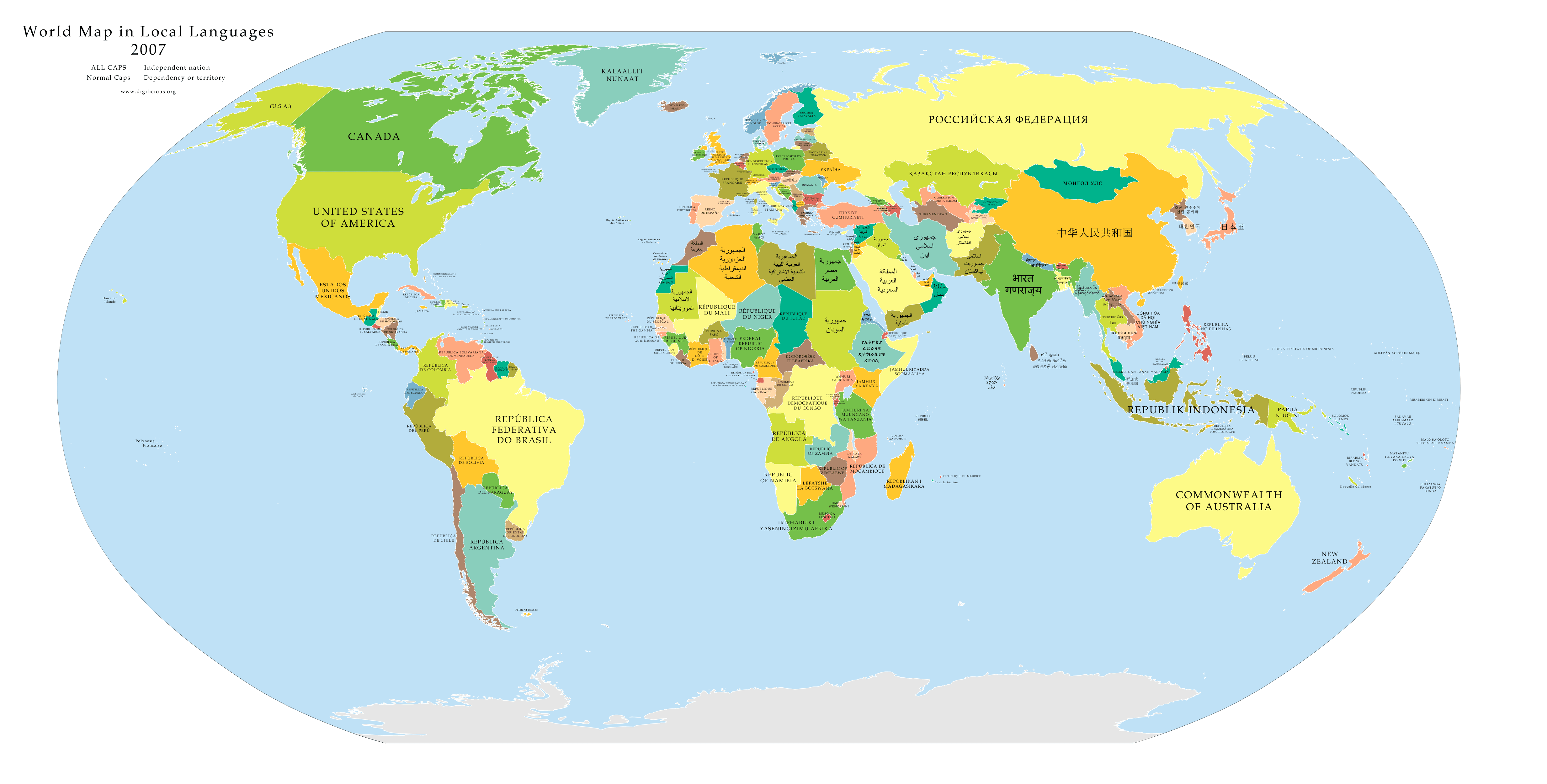 World Map in Local Languages