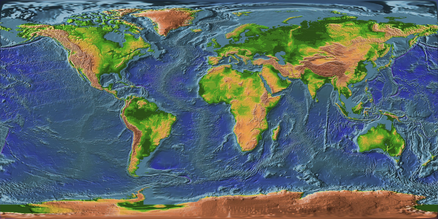 World Elevation Map Guide Of The World