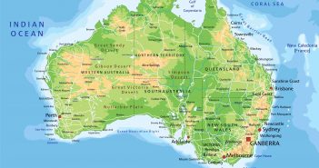 High detailed Australia physical map