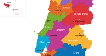 Colorful Portugal Regions Map with Cities