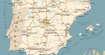 Road Map of Spain with Highways