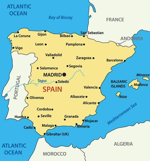 Map of Spain Guide of the World