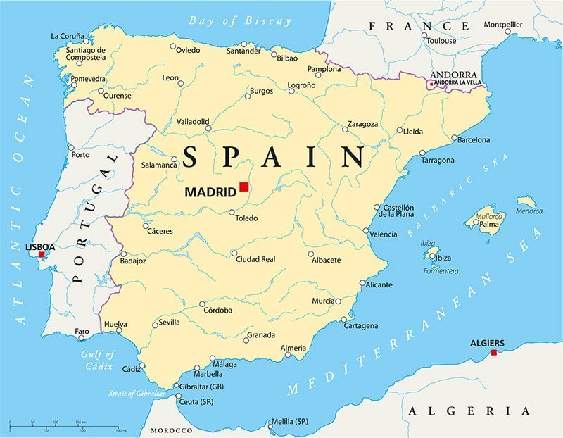 Spain Rivers and Cities Map