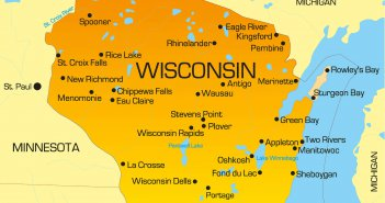 color map of Wisconsin state