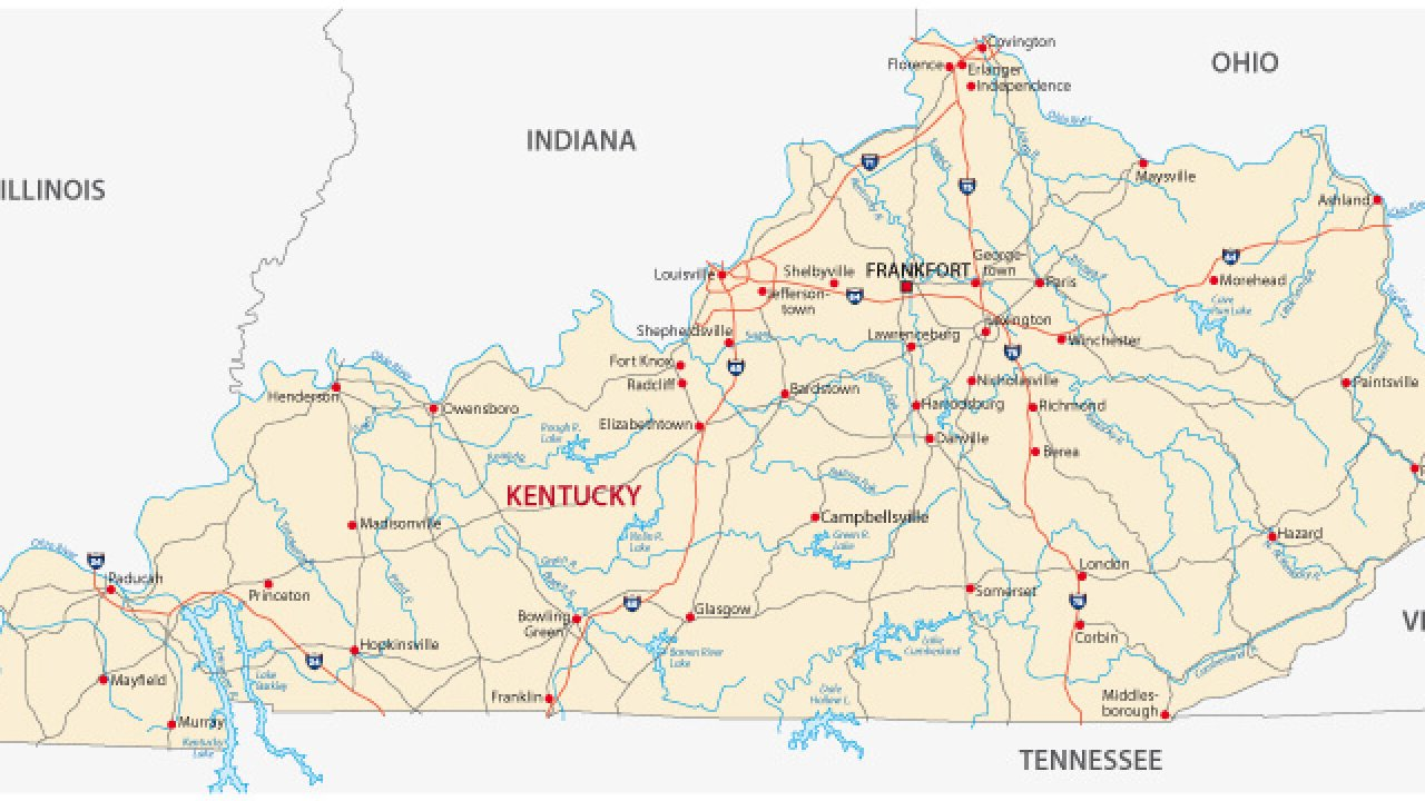 Map of Kentucky - Guide of the World