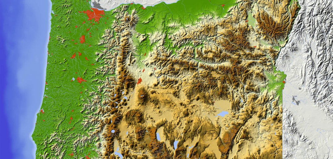 Oregon Shaded Relief Map