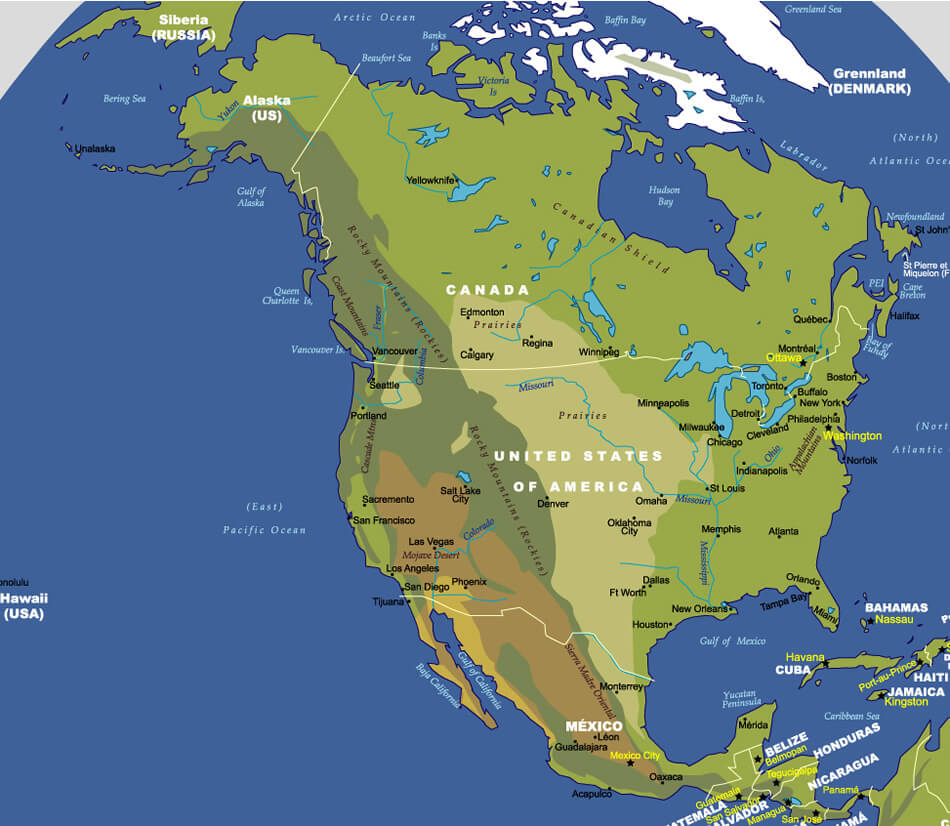 Map north america guide of the world map north america gumiabroncs Choice Image