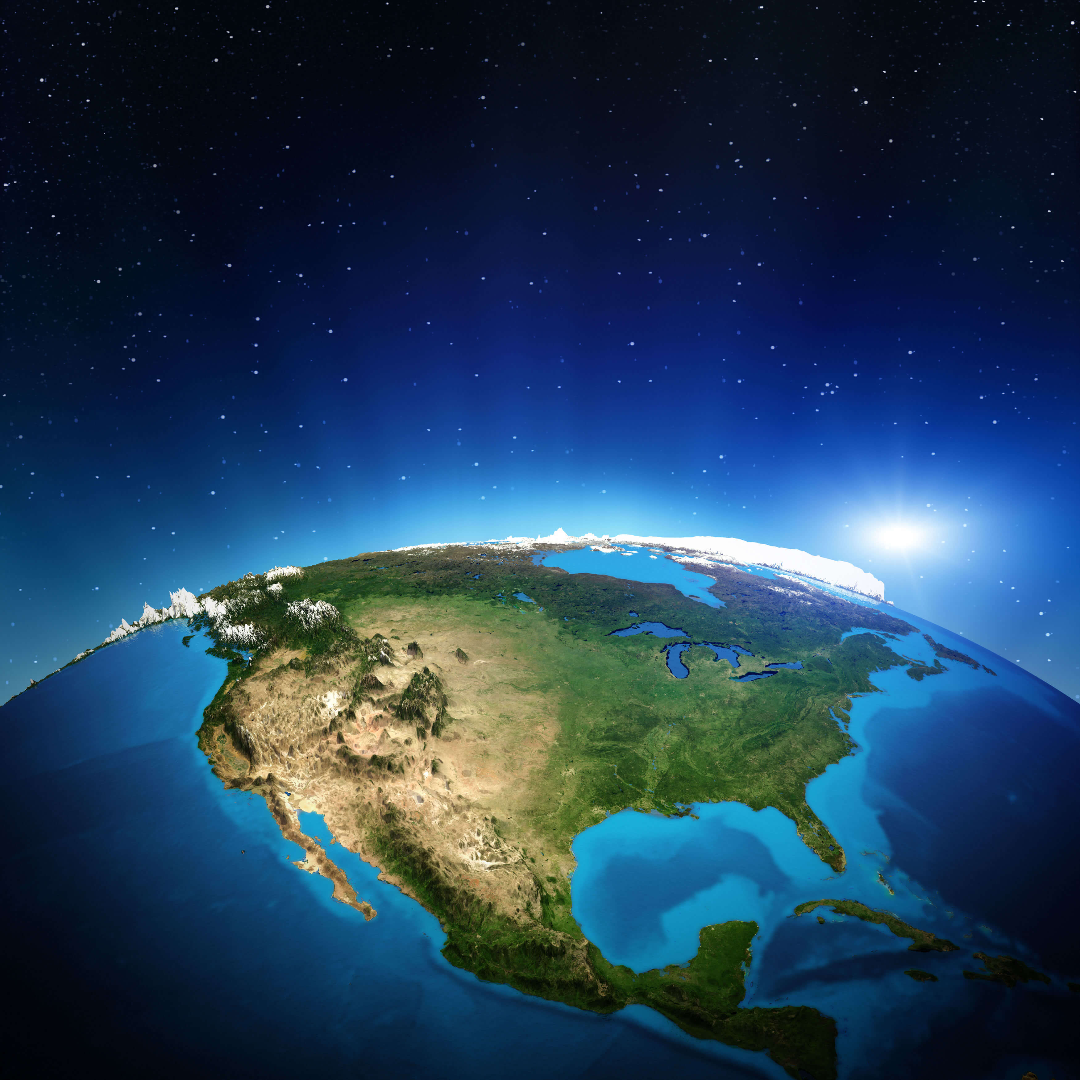 North America Satellite Map Guide Of The World