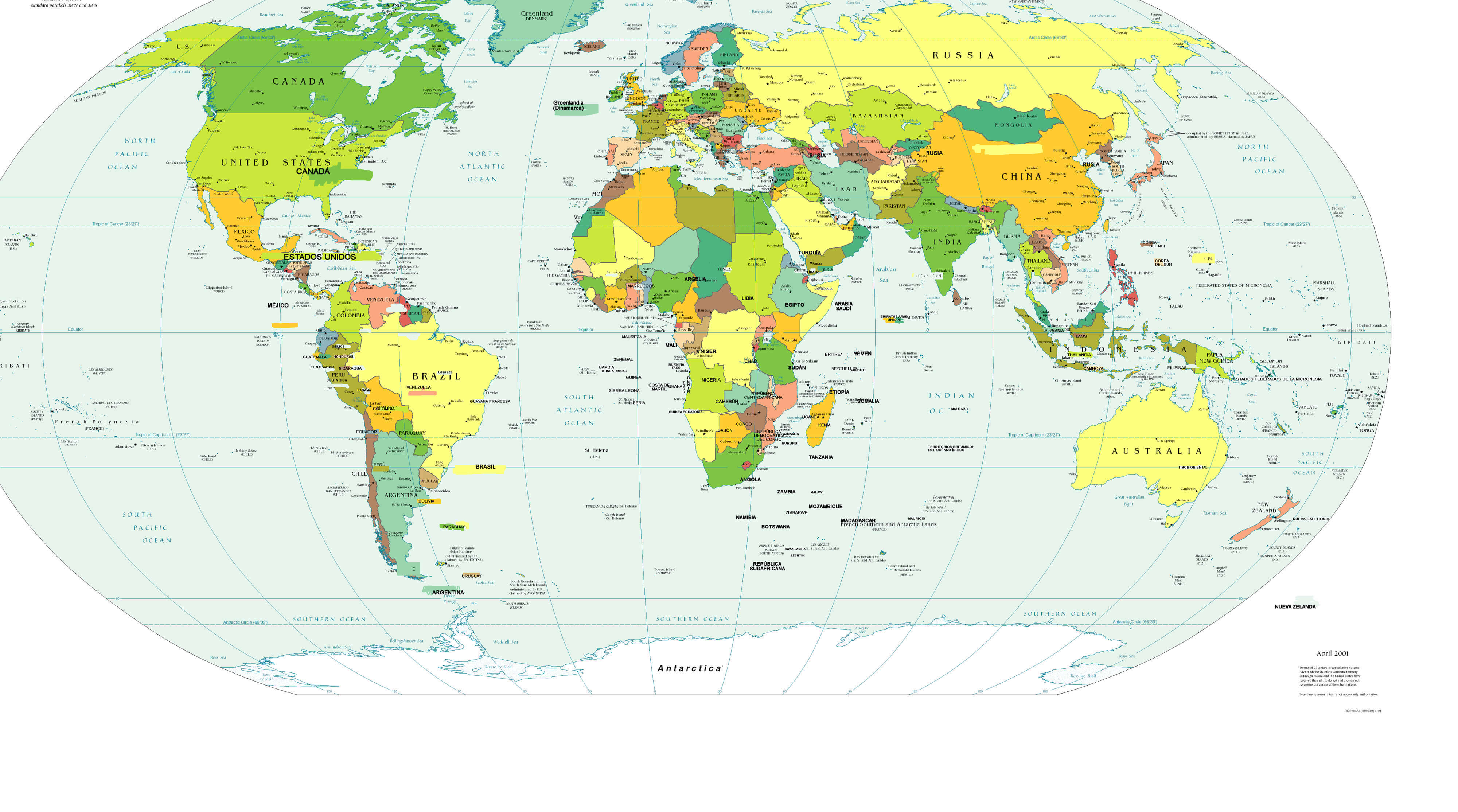 World Map in Spanish Language - Guide of the World