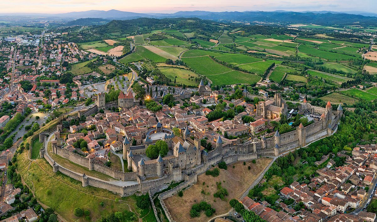 carcassonne aerial view france