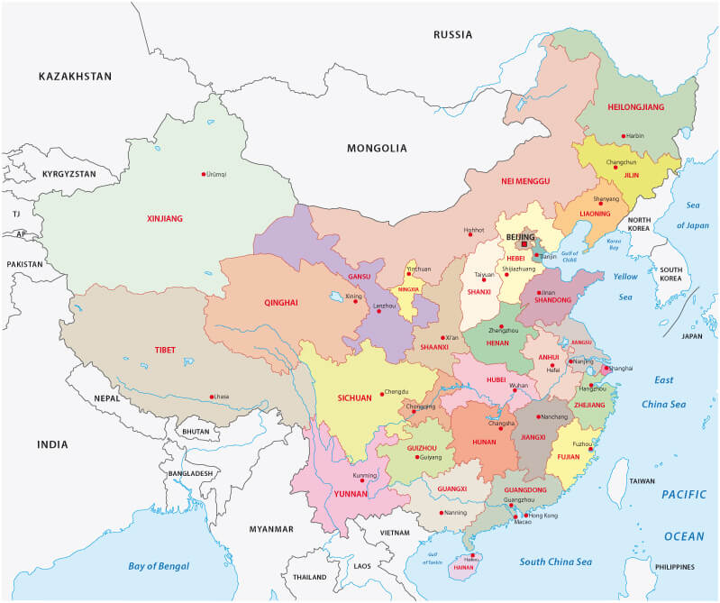 Administrative Divisions Map of China