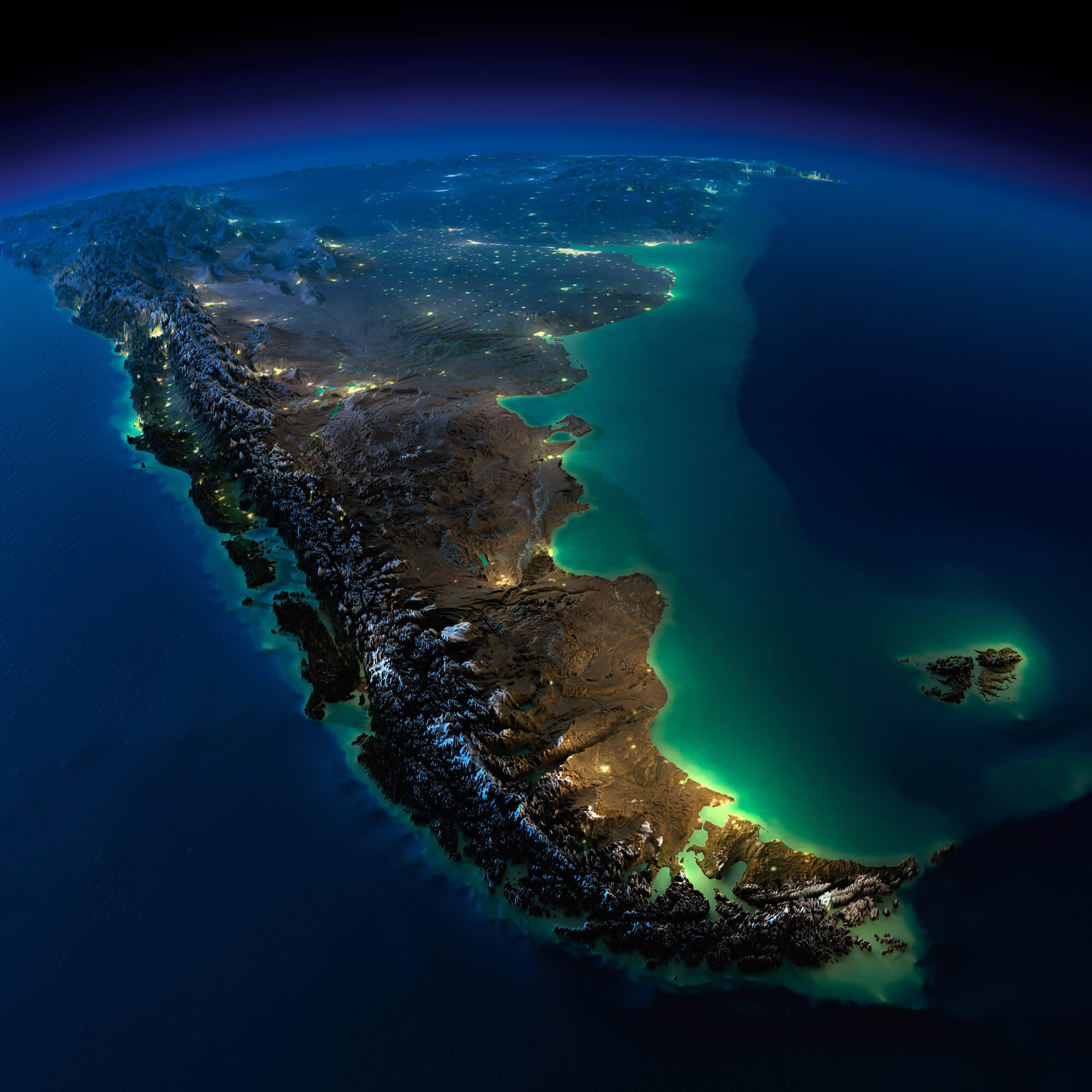 Argentina and Chile Earth Map