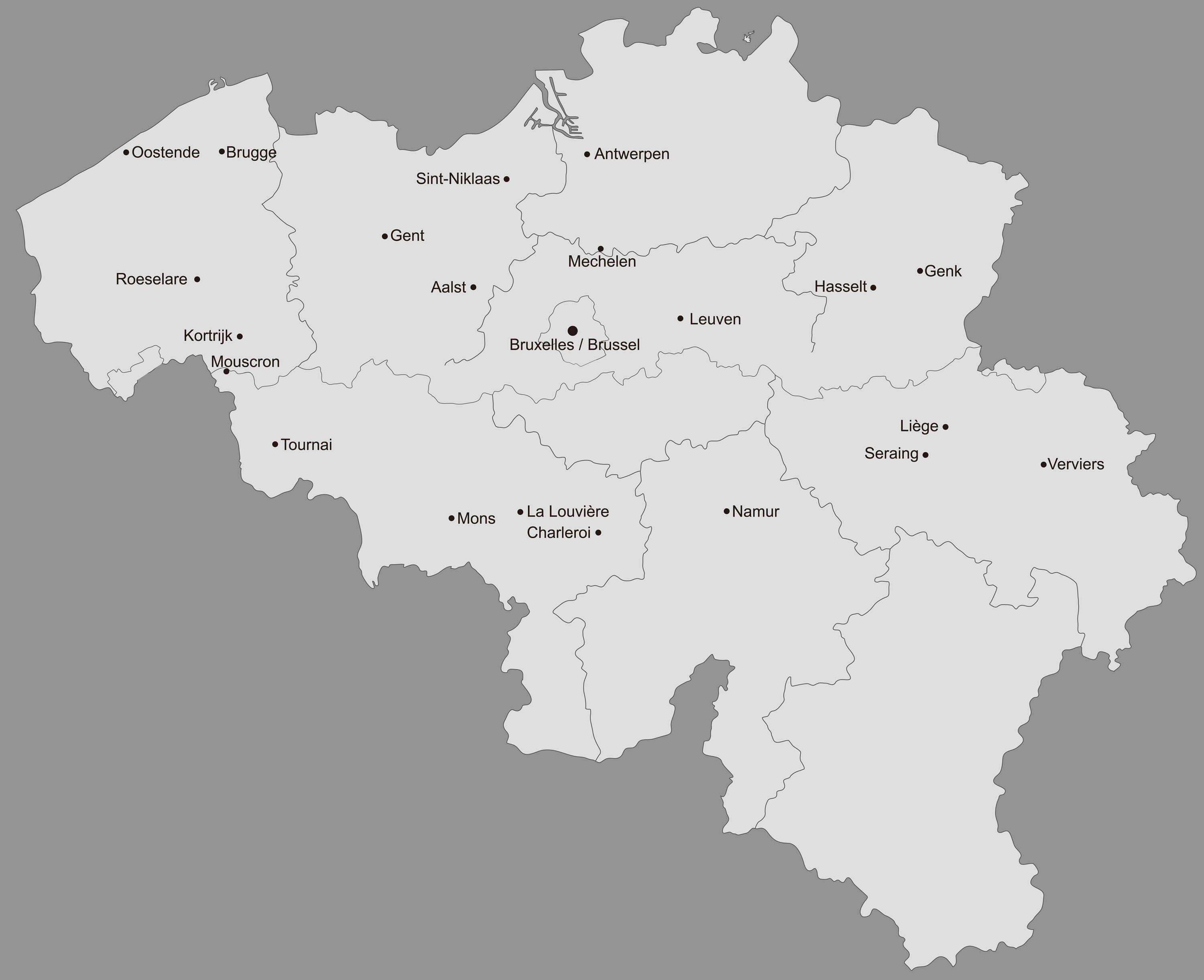 Belgium Map with Main Cities