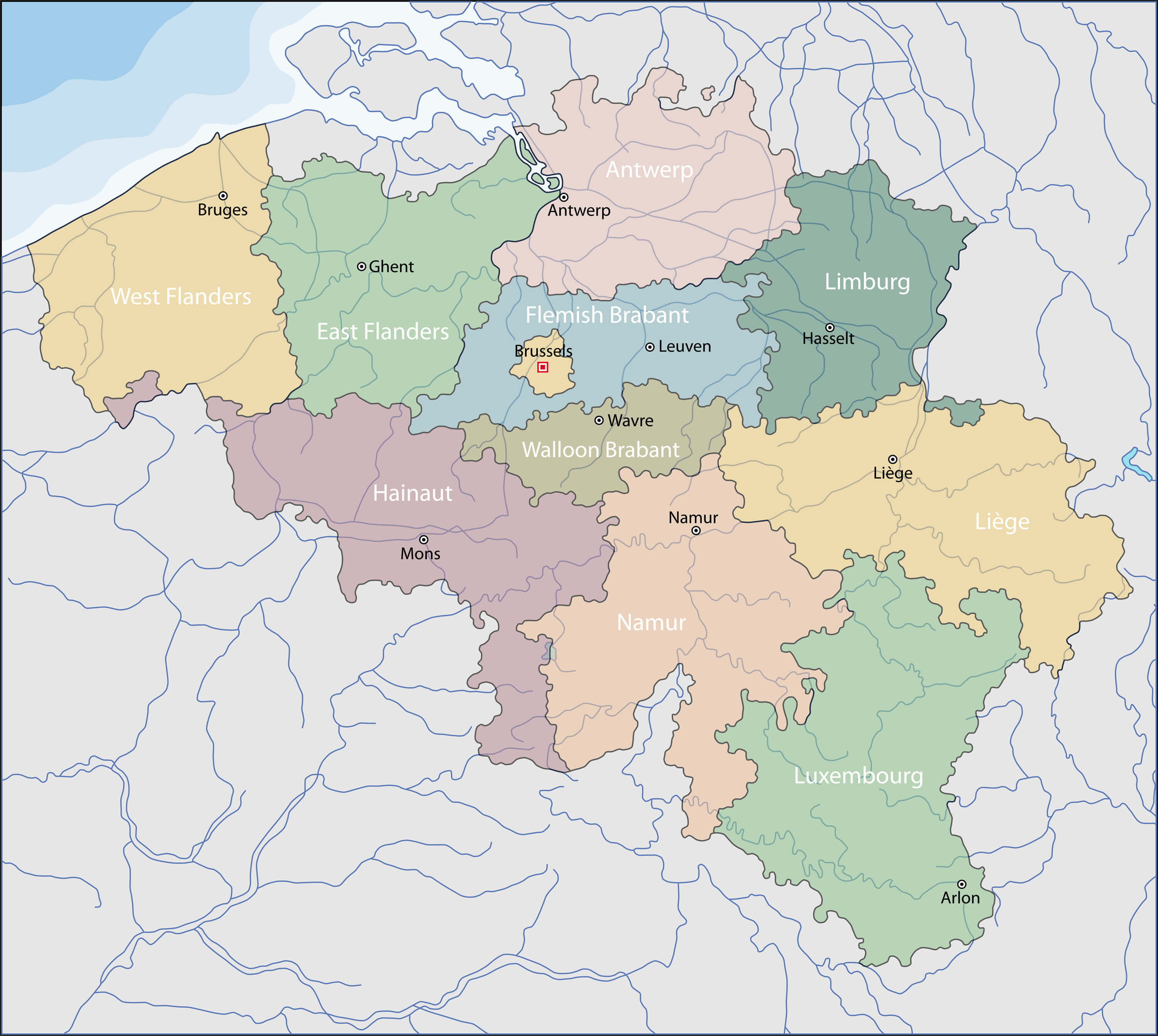 Belgium Provinces Map