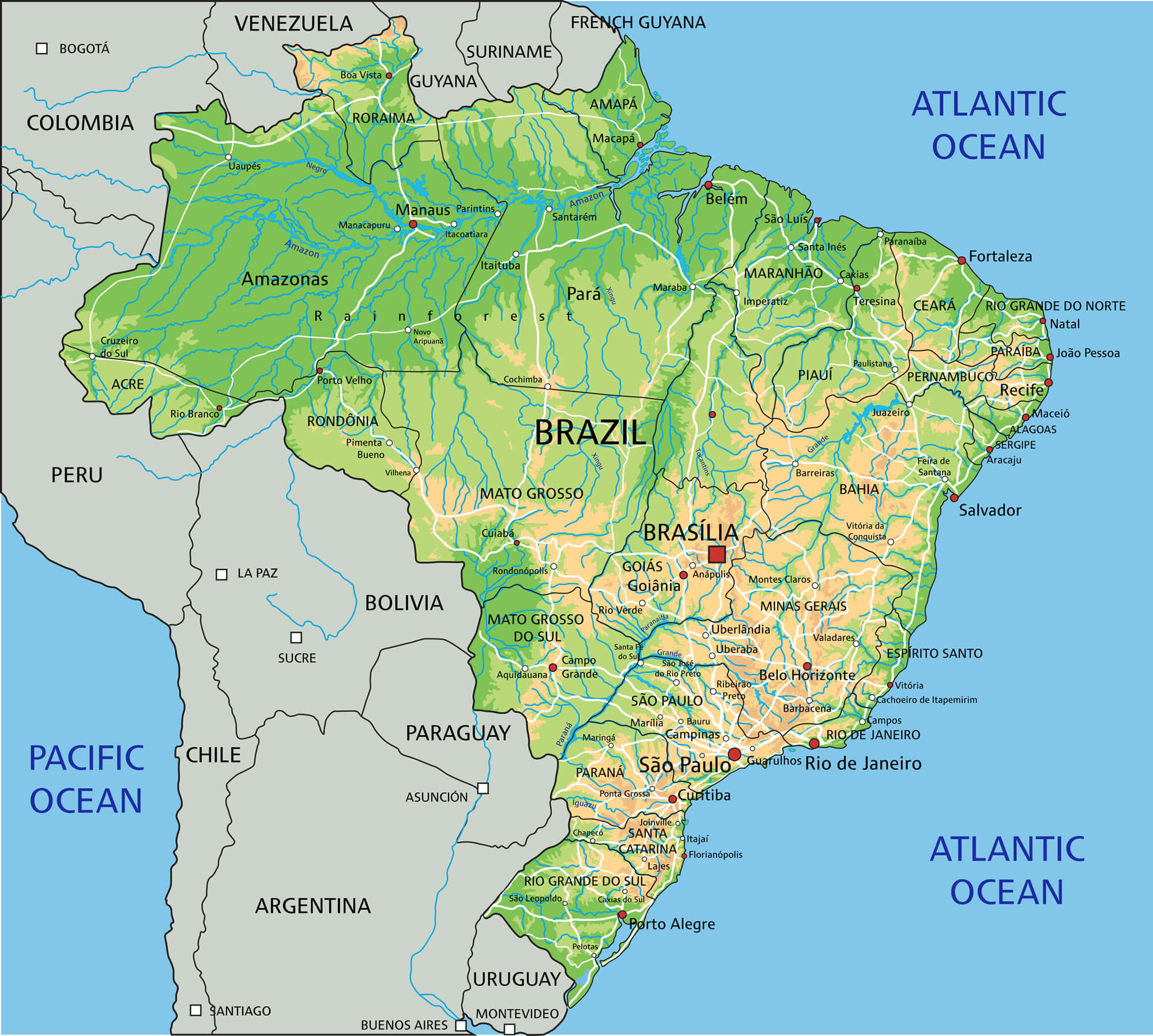 Brazil Map Guide of the World
