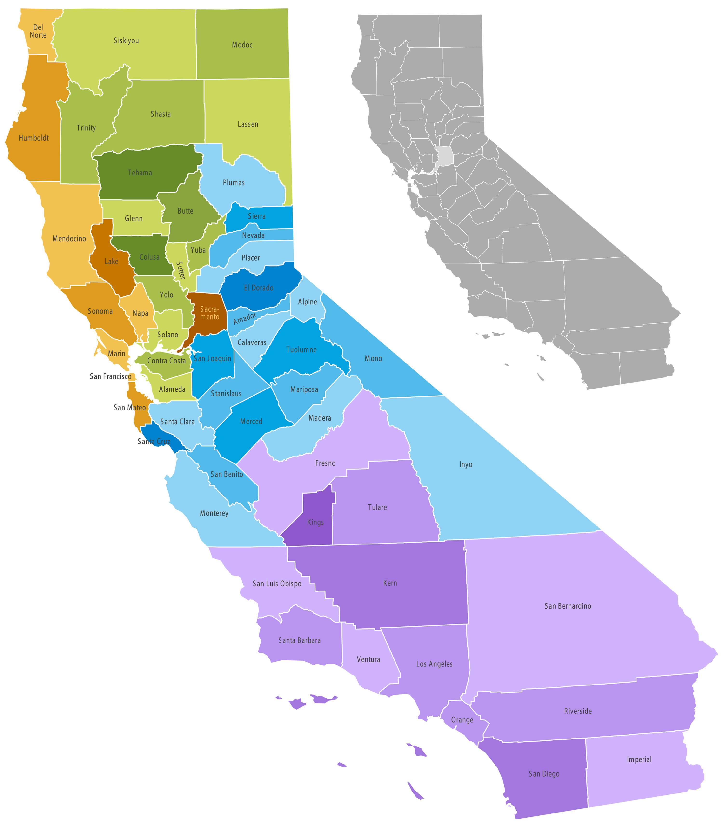 California Counties Map
