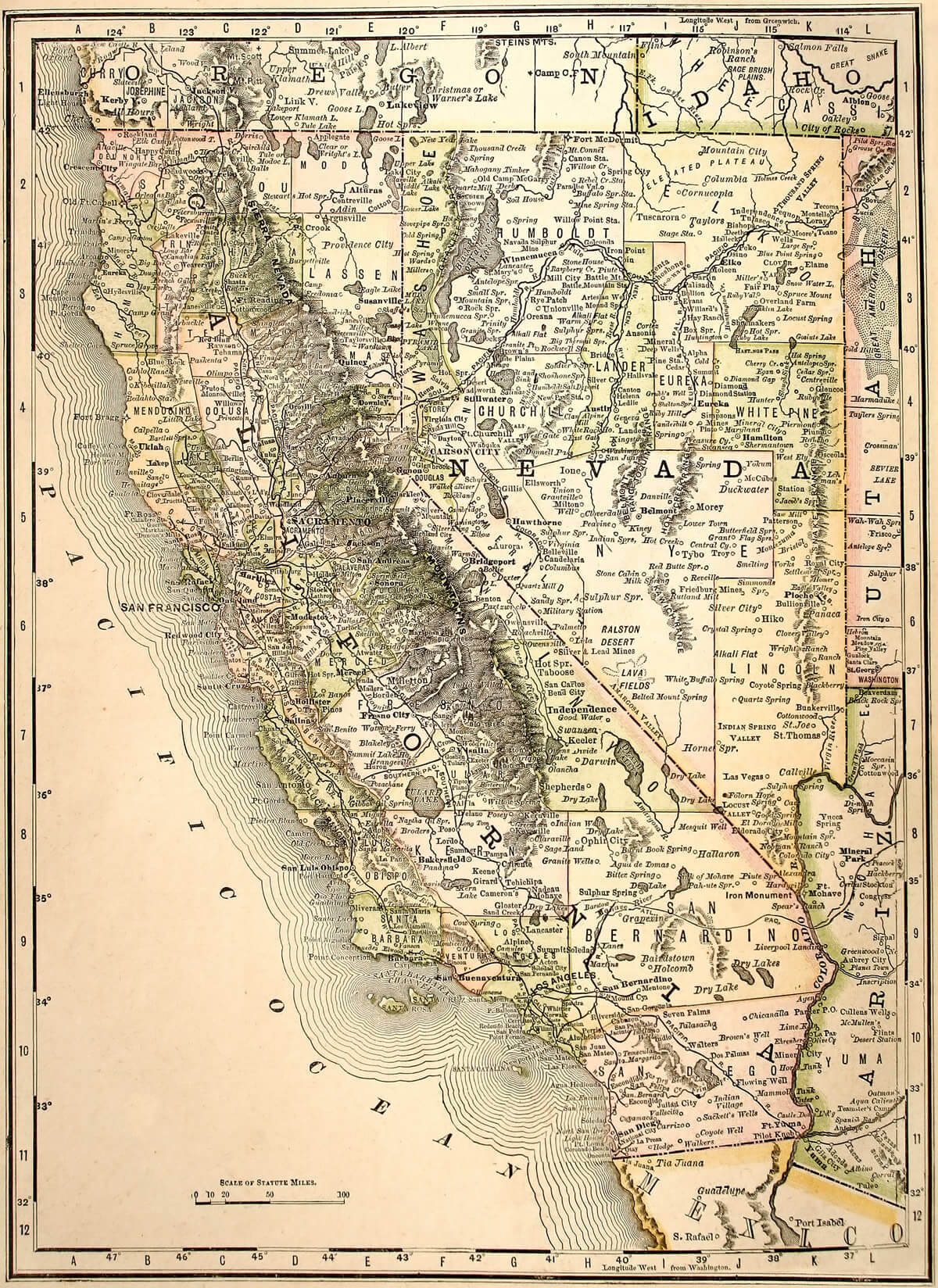 California and Nevada State Map 1889