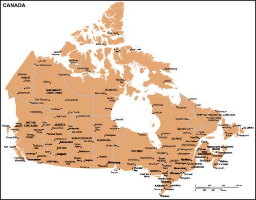 Canada Country Map with Cities