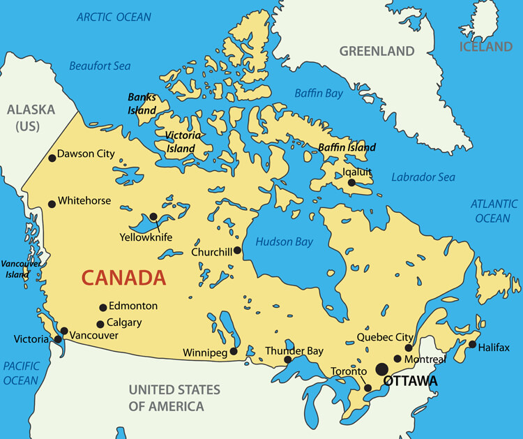 Map of Canada - Guide of the World