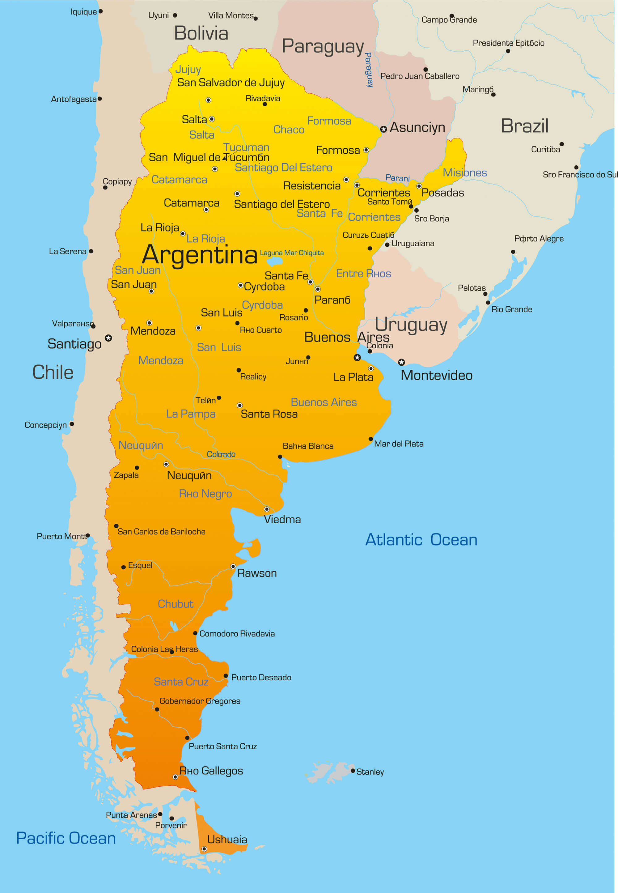 Color Map of Argentina