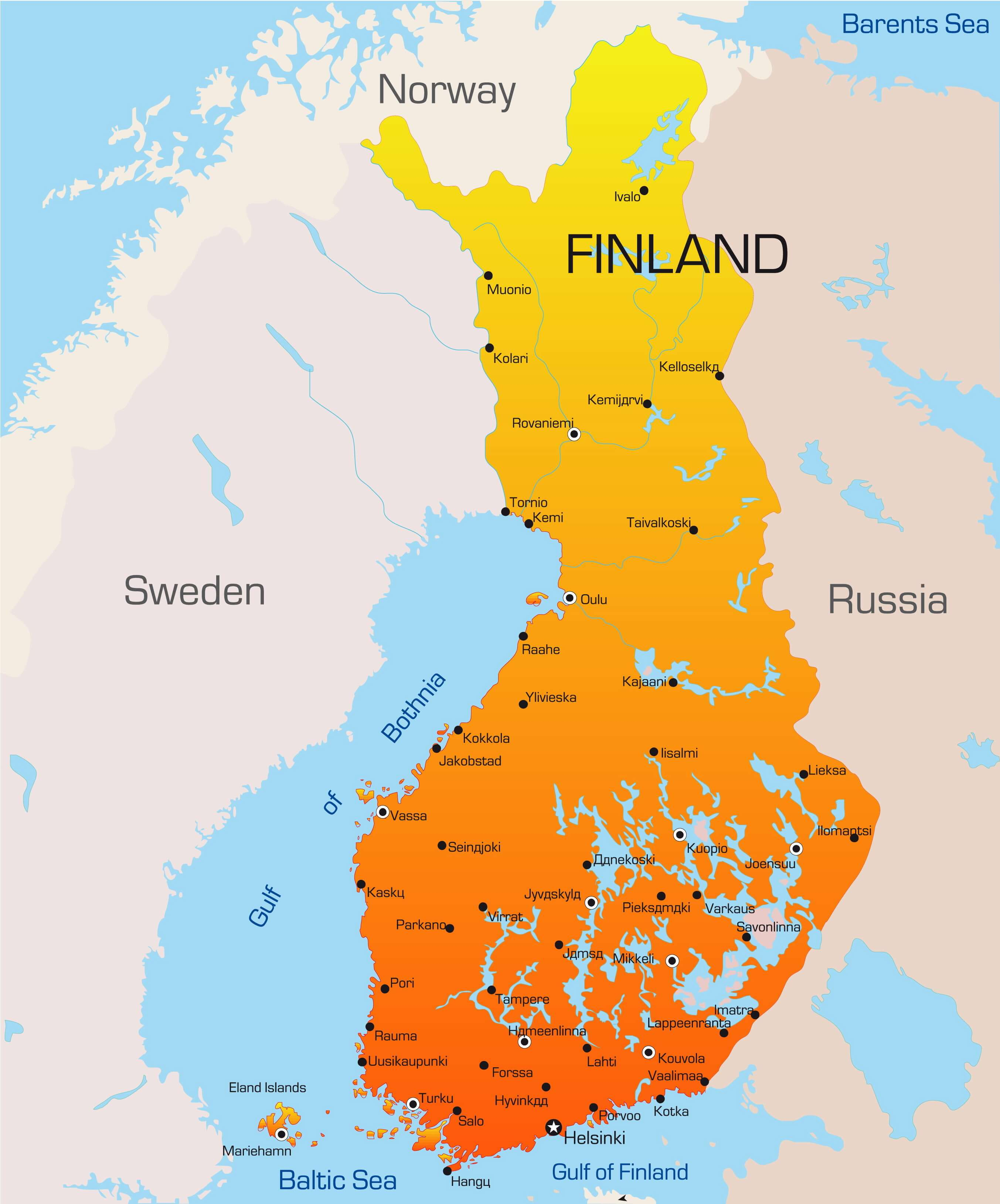 Color Map of Finland
