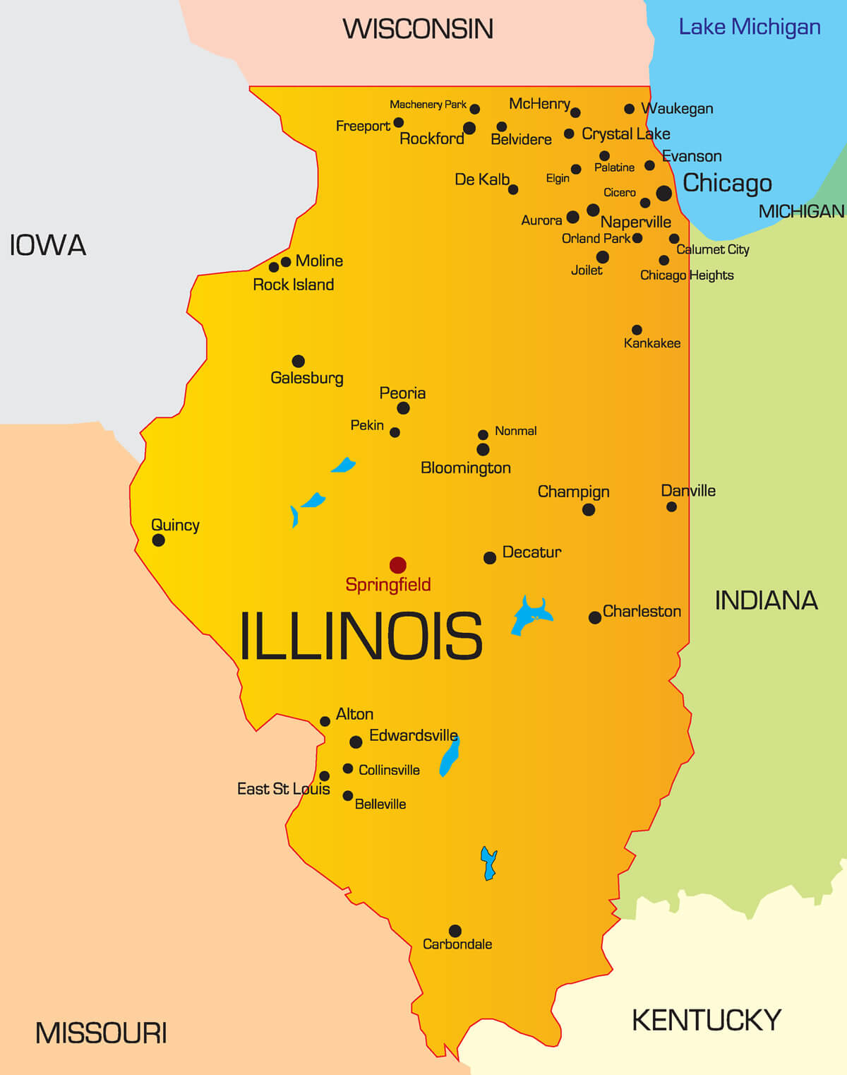 Illinois Map - Guide of the World