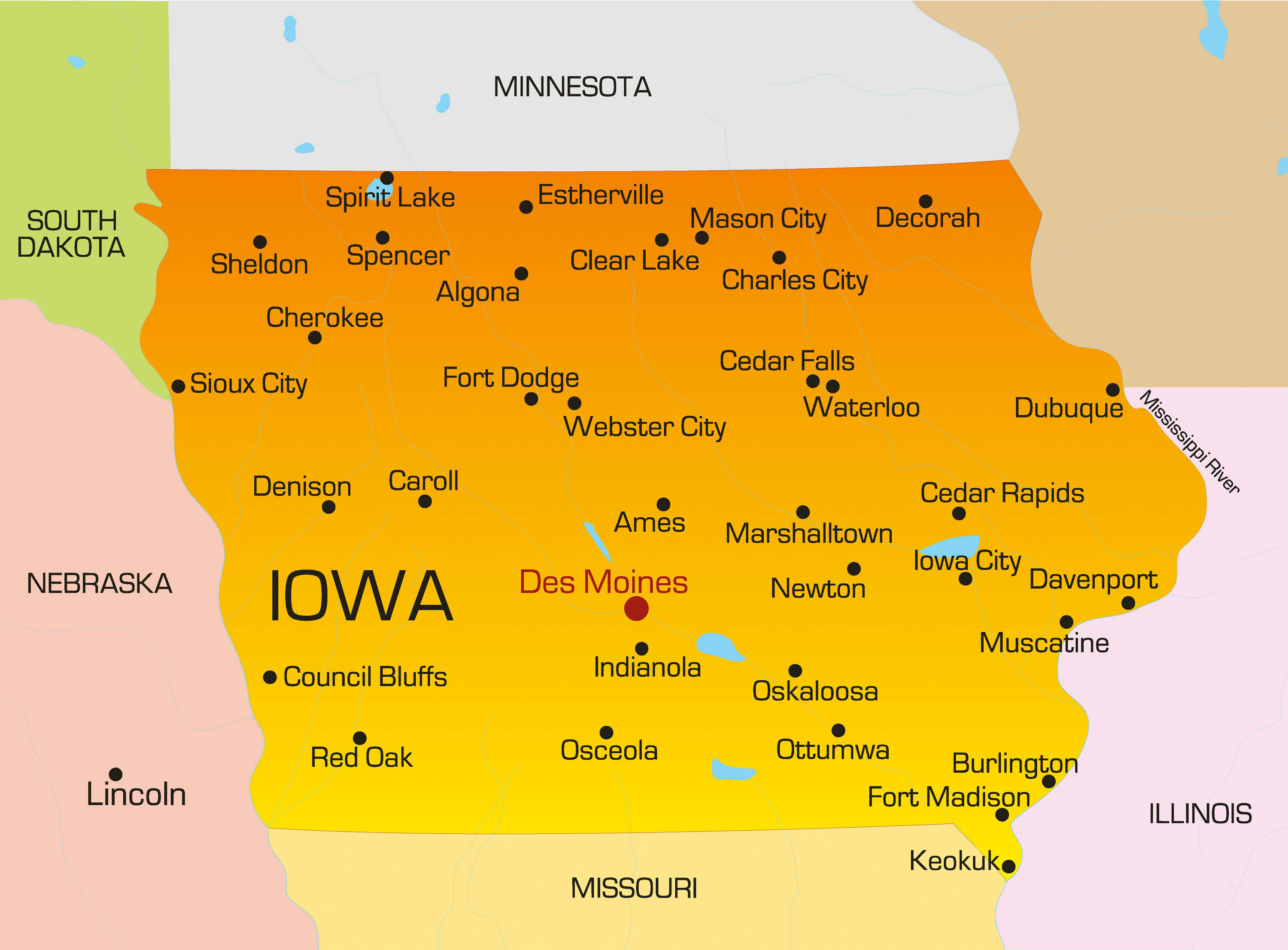 Iowa Map Guide of the World