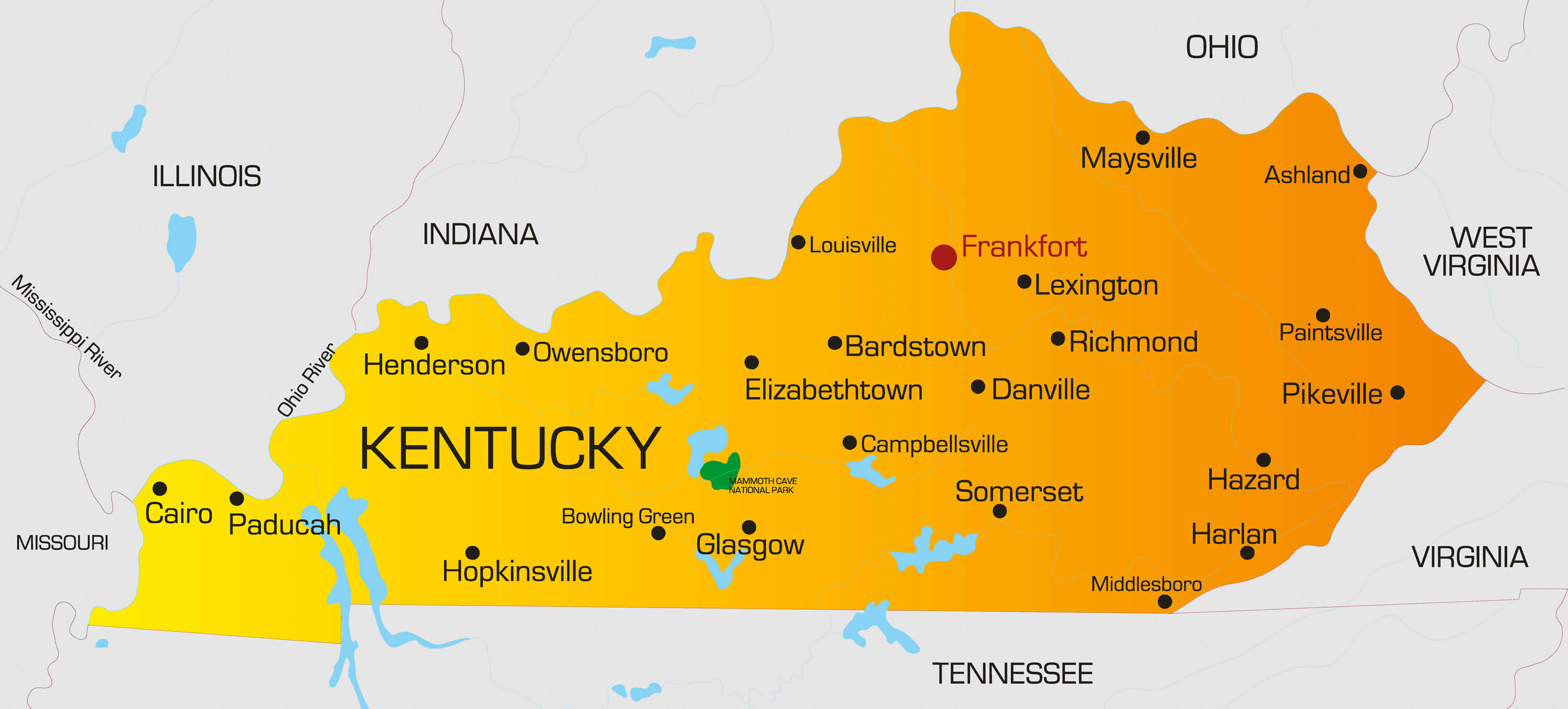 Kentucky Map   Guide of the World