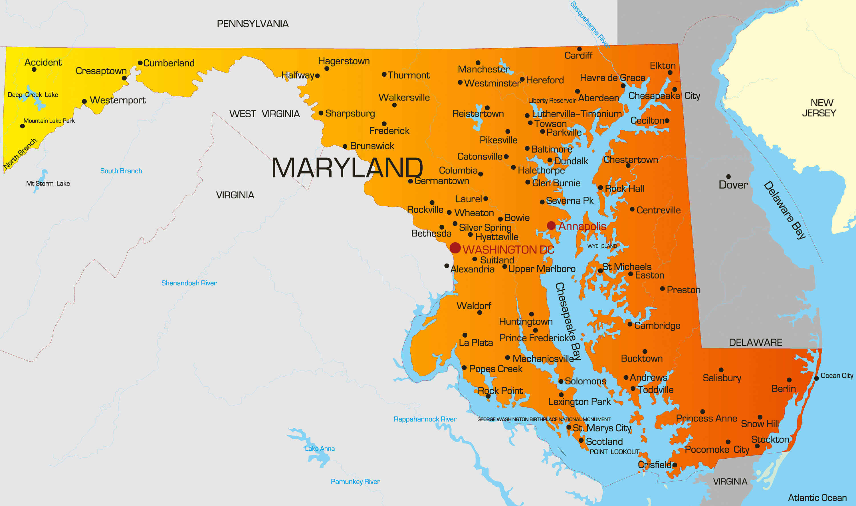 Maryland Map   Guide of the World