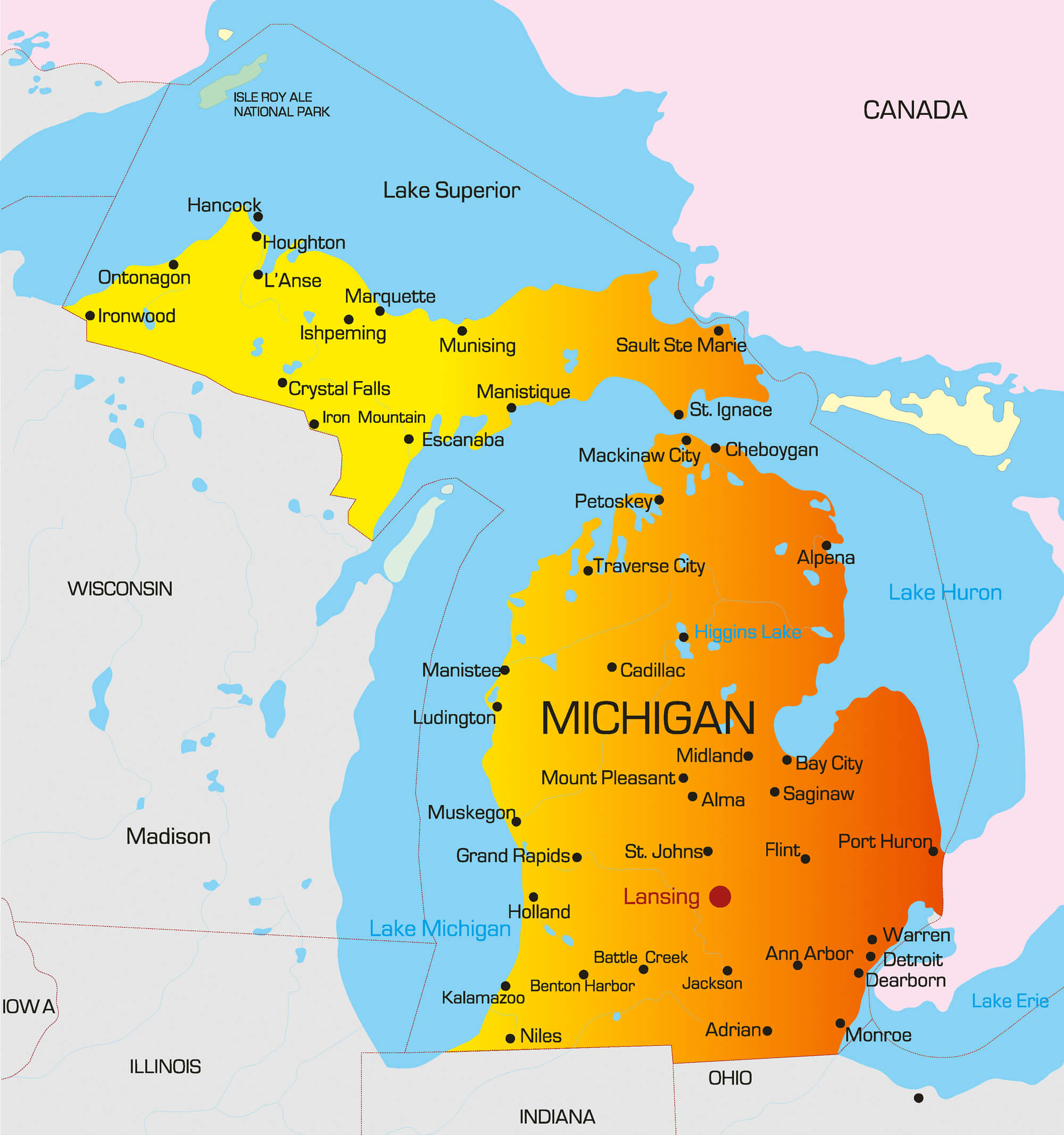 Michigan Map Guide Of The World