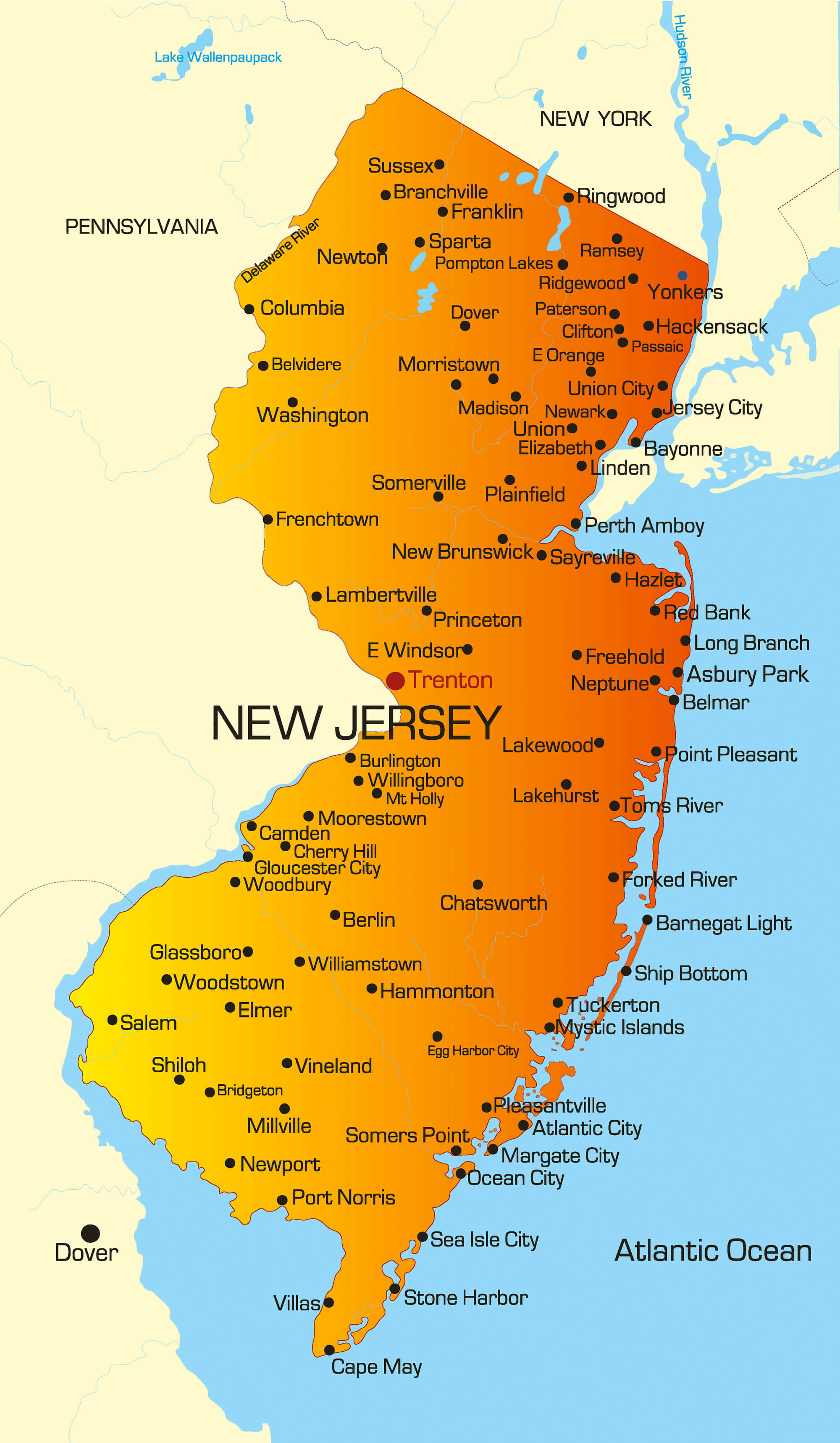 Asbury Park New Jersey Map.Map Of New Jersey Guide Of The World