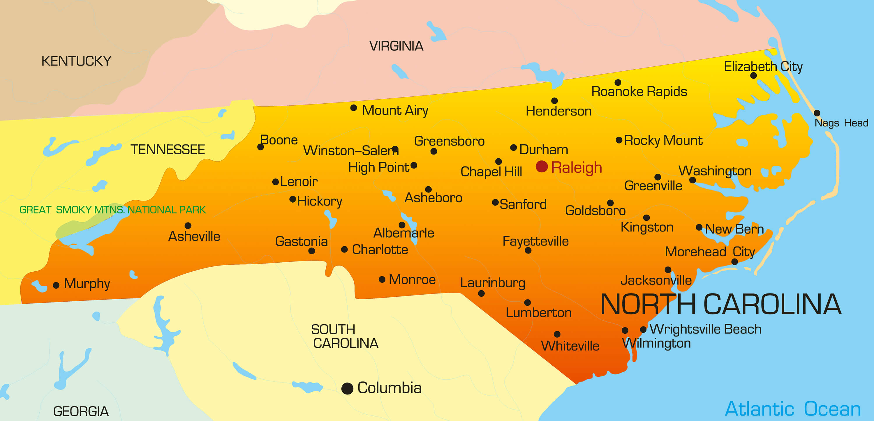 North Carolina Map - Guide of the World