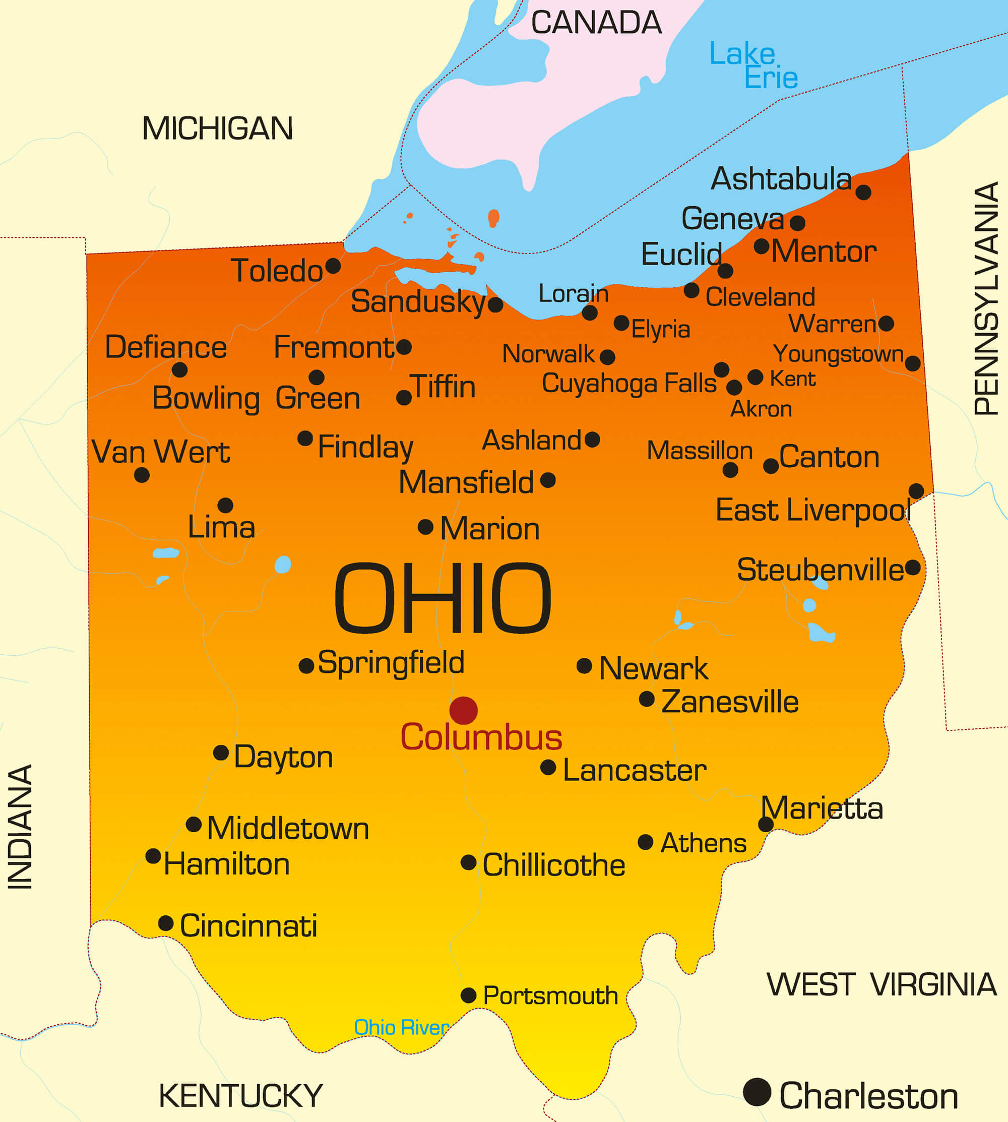 Ohio Map Guide Of The World