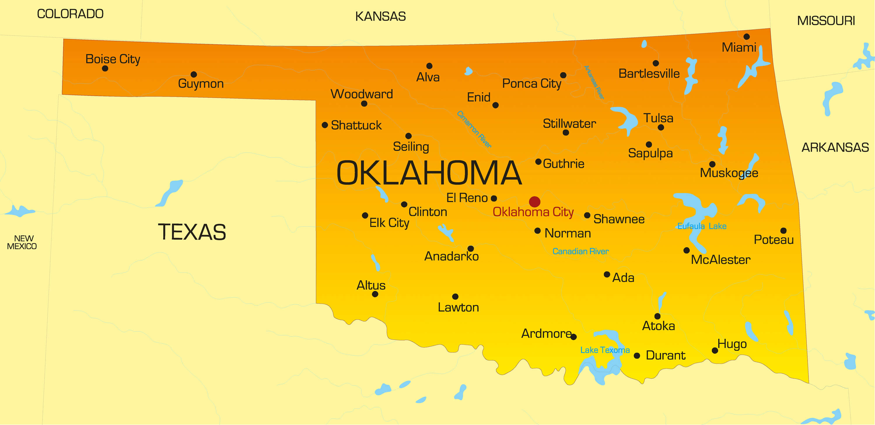 color map of Oklahoma
