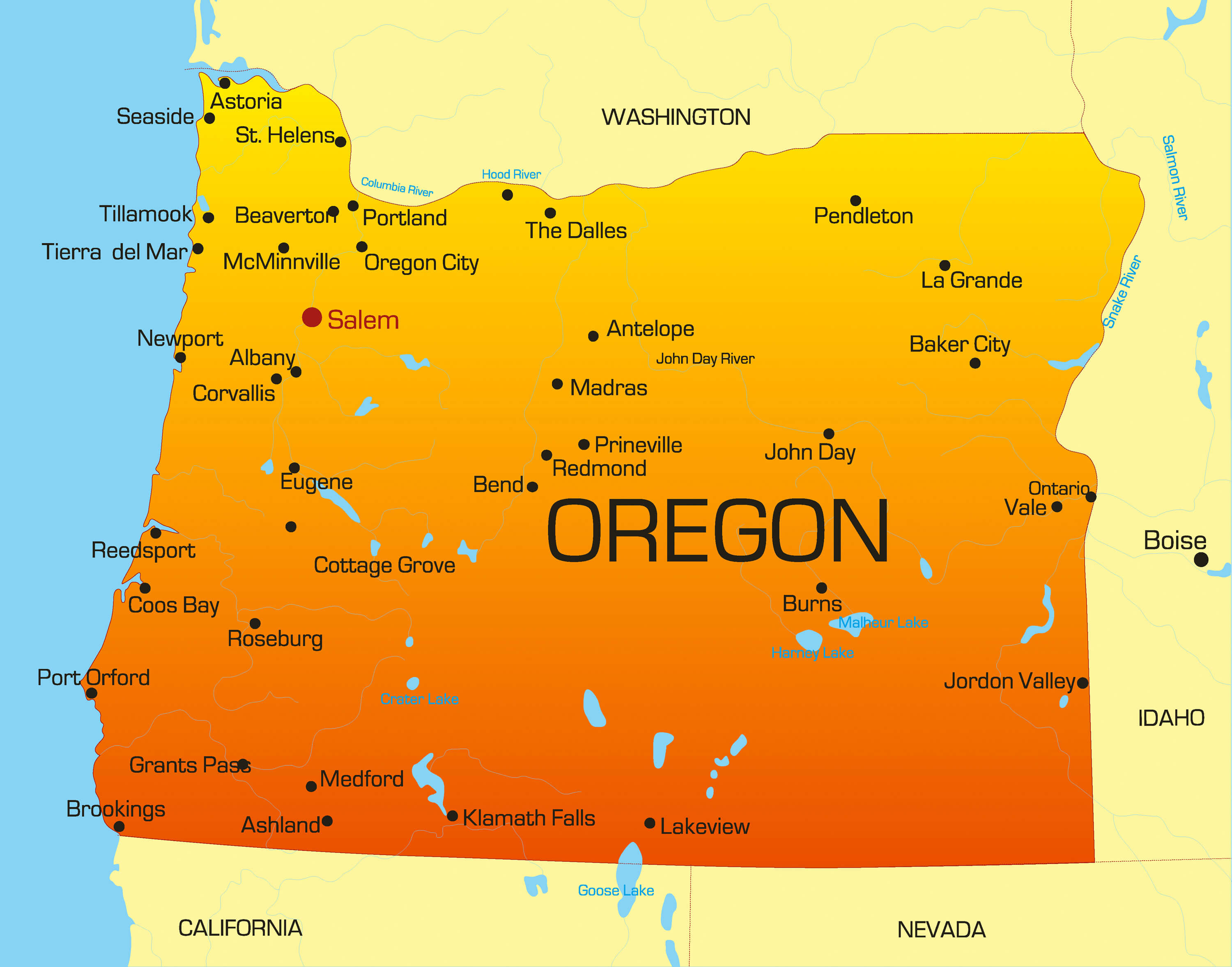 color map of Oregon