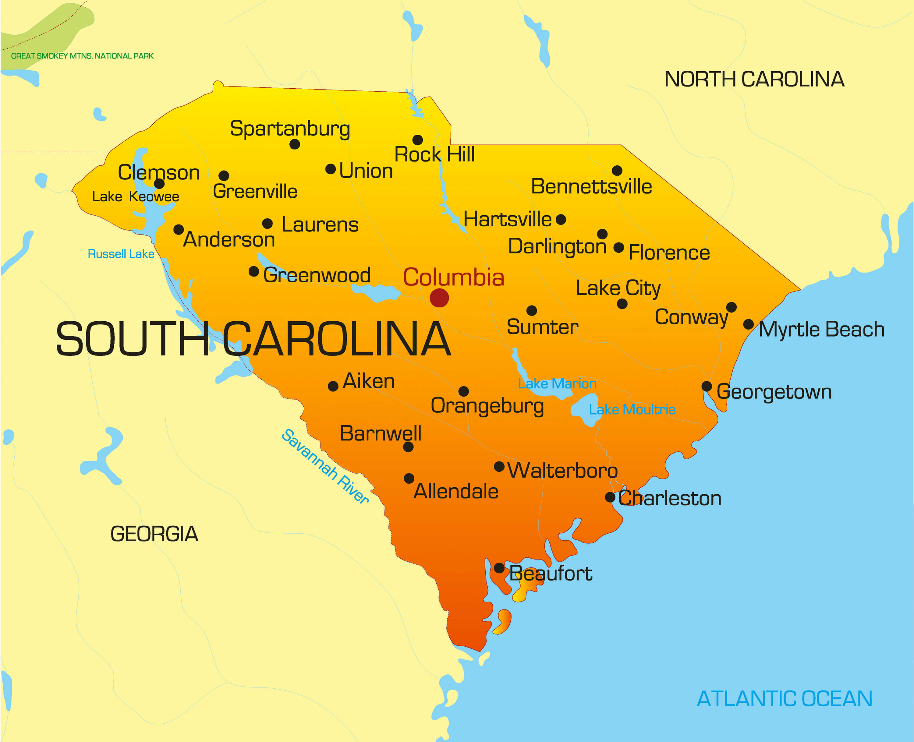 Savannah South Carolina Map.South Carolina Map Guide Of The World
