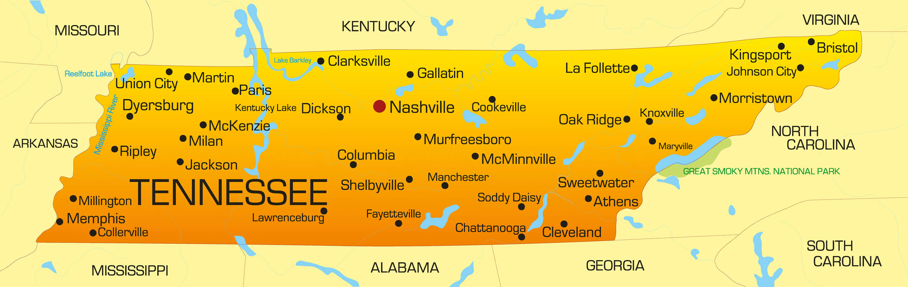 Tennessee Map - Guide of the World