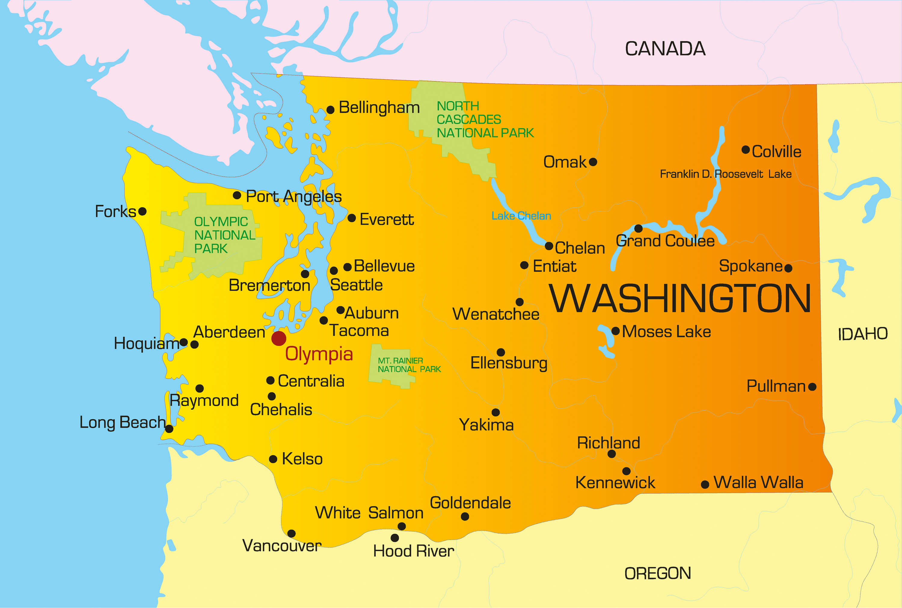 Washington Map   Guide of the World